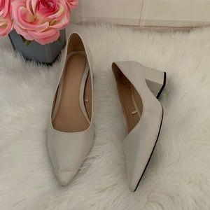 Zara Trafaluc Off White Leather Heels Shoes